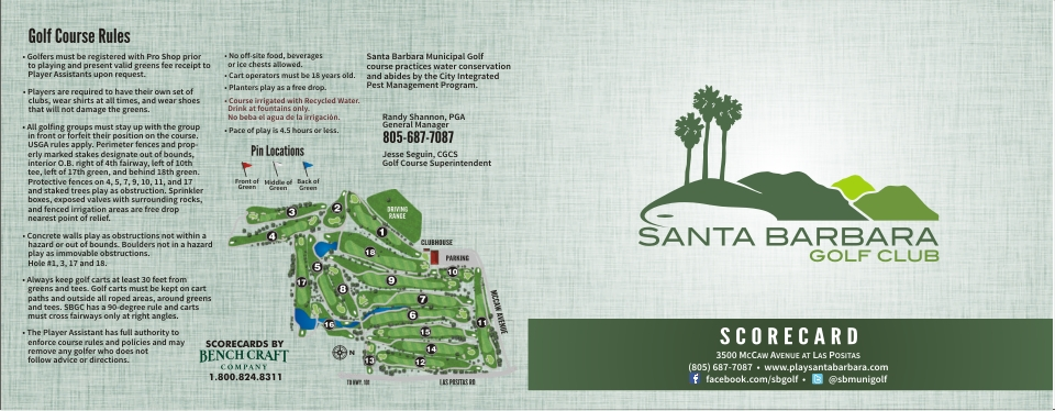 Santa Barbara Golf Club Scorecard By Benchcraft Company Cover